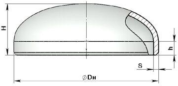 Заглушка стальная эллиптическая гост 17379, днища, ду 15 900, мм.