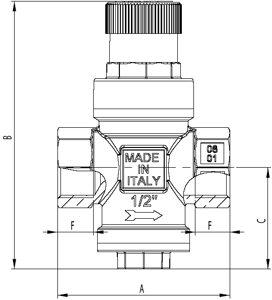 Регулятор редуктор давления воды 360 Itap размеры